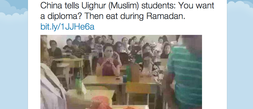 China tells Uighur (Muslim) students You want a diploma? Then eat during Ramadan