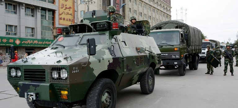 Security forces patrolling in Xinjiang