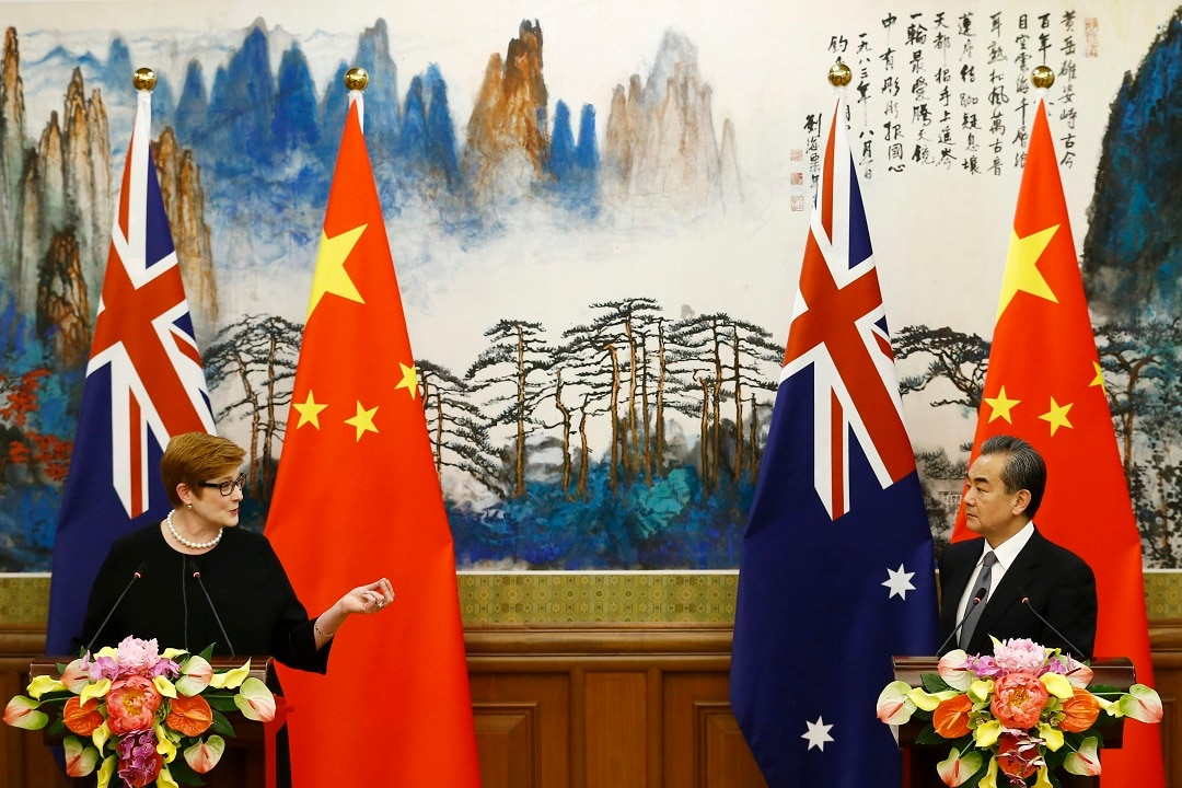"Marise Payne said there was ""an exchange of views"" on the issue of Xinjiang internment camps."